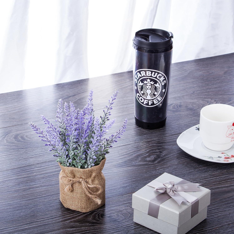 2 pezzi Falso pianta Tela da imballaggio in vaso per Casa Interno Allaperto Nozze Sede arredamento Viola YAPASPT Artificiale Lavanda Fiori