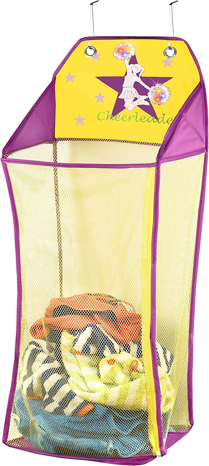 Store & Score Over The Door Hanging Kids Fun LED Cheerleader Light-Up Collapsible Mesh Laundry Hamper, Toy Chest, Heavy Duty Metal Hooks Included. Patent Pending.