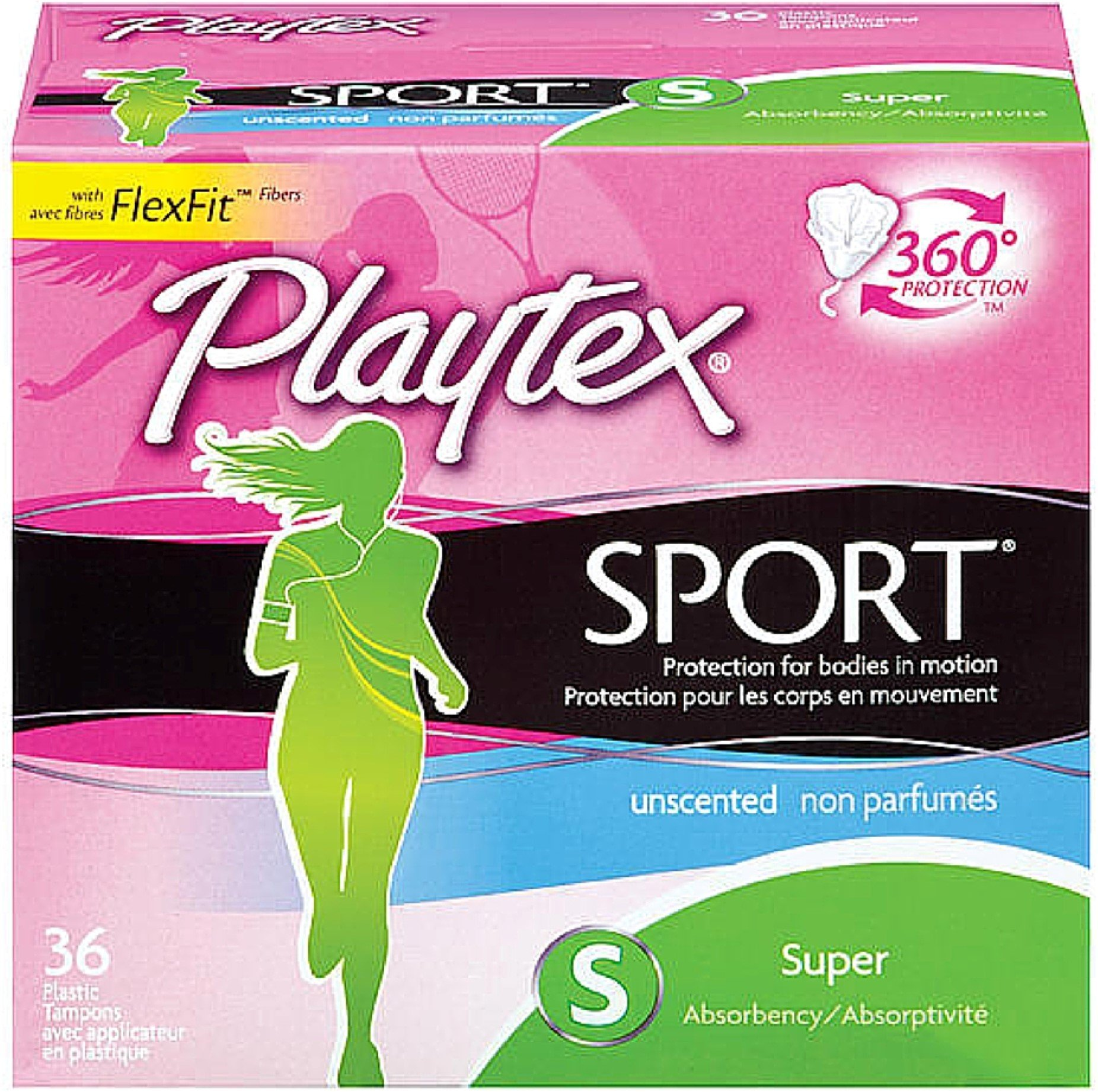Playtex Sport Unscented Super Absorbency Tampons 36 ea (Pack of 10)