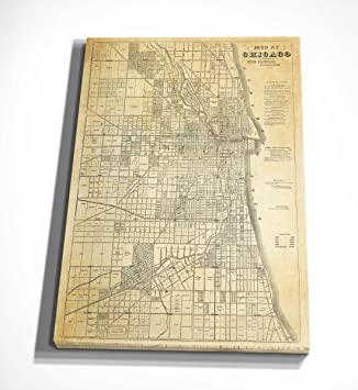Chicago Map Canvas.Amazon Com Wexford Home Chicago Map Canvas Art 16 X 20 Posters