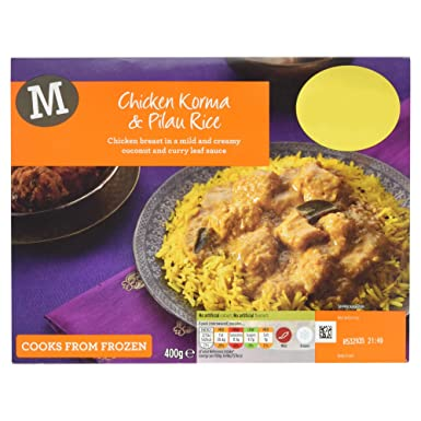 Morrisons Chicken Korma And Pilau Rice 400g Frozen