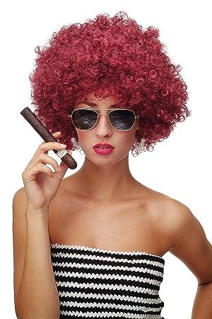 WIG ME UP ® - Peluca afro rojo granate Funk Disco años 70 años 80 Foxy