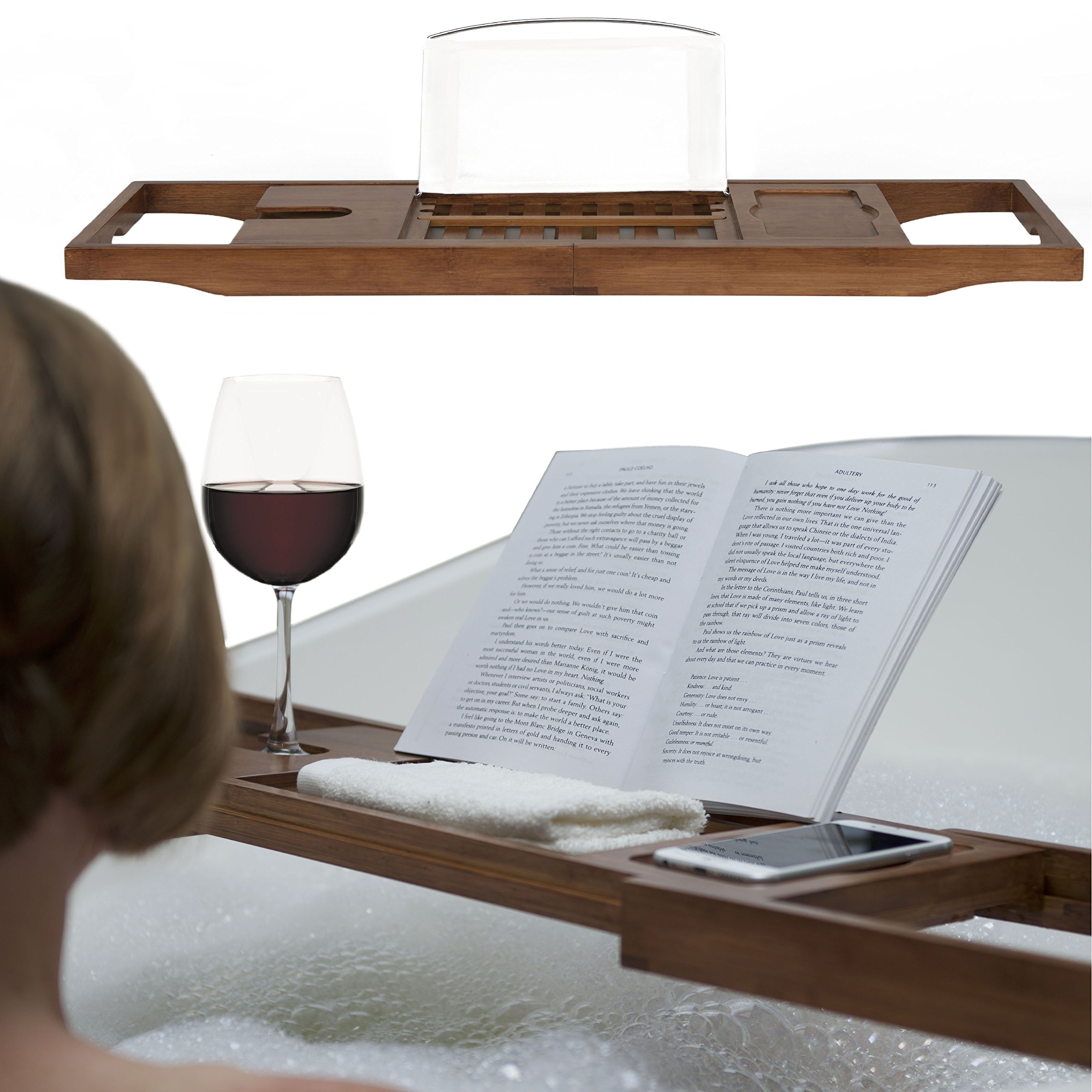 Luxury Dark Walnut Brown Bathtub Caddy, Natural Premium Bamboo Bath Tub Tray with Extending Sides, Reading Rack, Wine Glass, Book and Tablet Holder by Eden Bath (Image #7)
