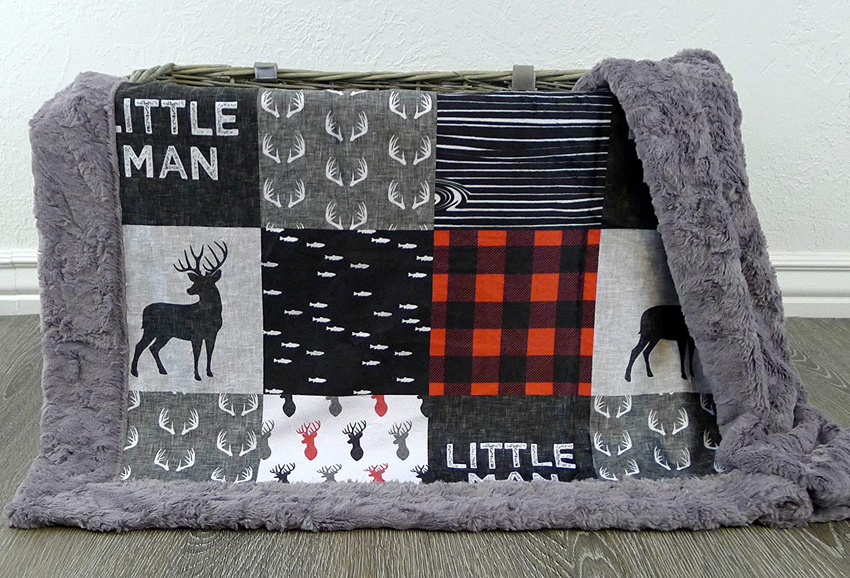 Deer Baby Blanket - Little Man Baby Blanket - Minky Baby Blanket - Deer Baby Blanket - Black White Red - Woodland Blanket - Baby Blanket - Nursery Decor - Crib Bedding - Faux Patchwork