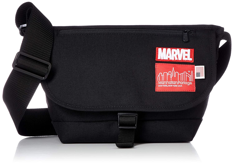 [マンハッタンポーテージ] メッセンジャーバッグ 公式 MARVEL Collection Casual Messenger Bag JR B07RL1XF1Y ブラック