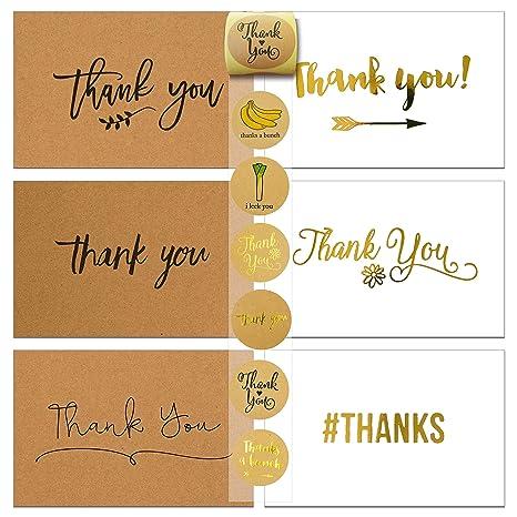 Amazon.com: 72 tarjetas de agradecimiento y sobres y ...