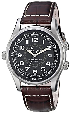acfda66f0 Image Unavailable. Image not available for. Color: Hamilton Men's H77505535  Khaki Navi UTC Automatic Watch