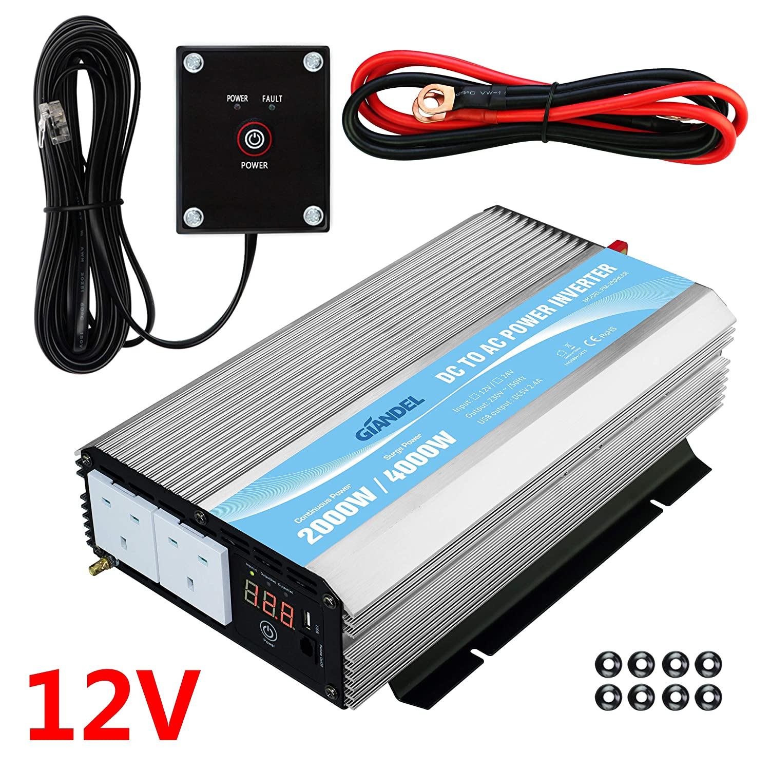 Power Inverter 2000W DC 12V to AC 230V//240V converter with remote controller /& dual AC outlets for RV Truck Car GIANDEL