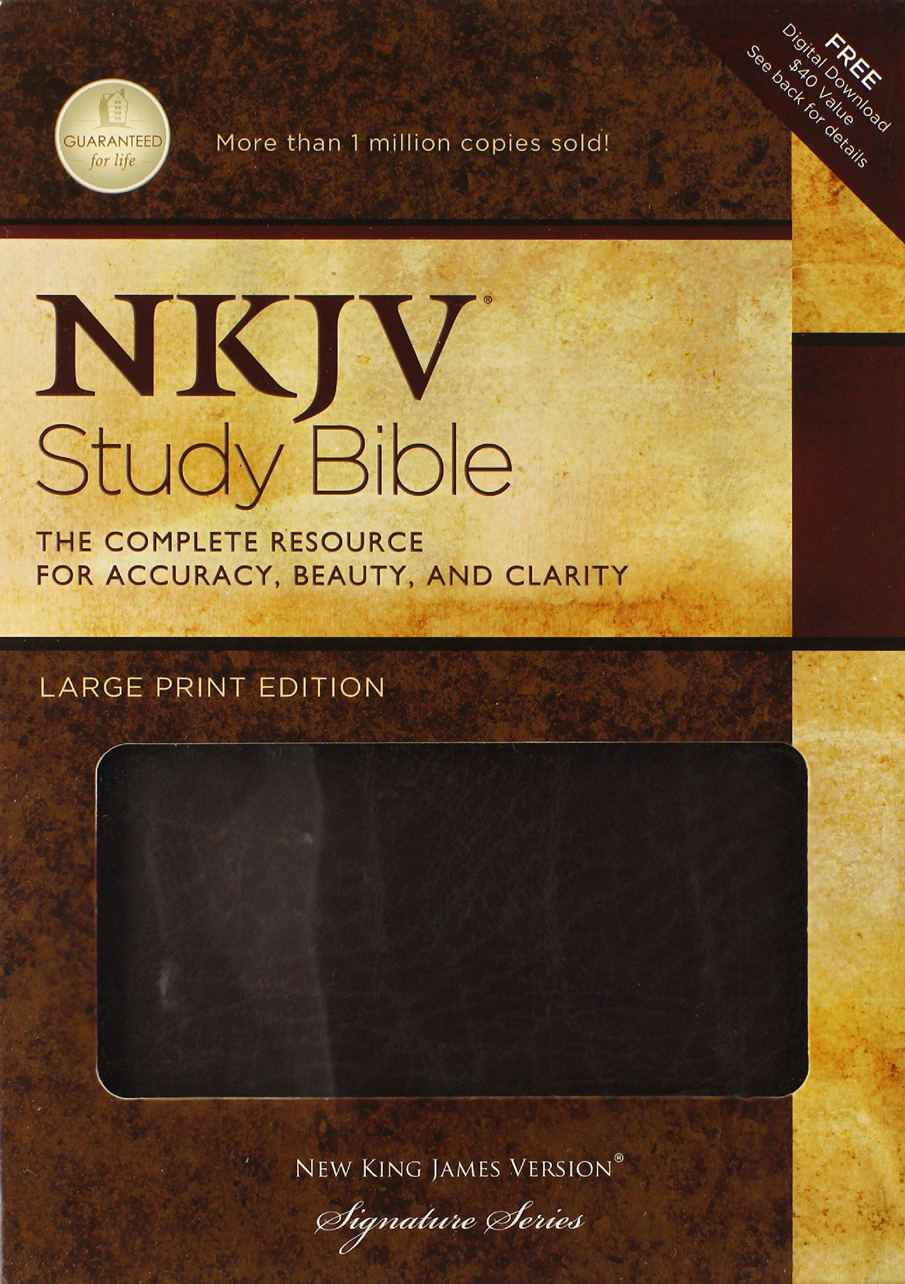 NKJV Study Bible, Large Print, Bonded Leather, Burgundy: Large Print Edition