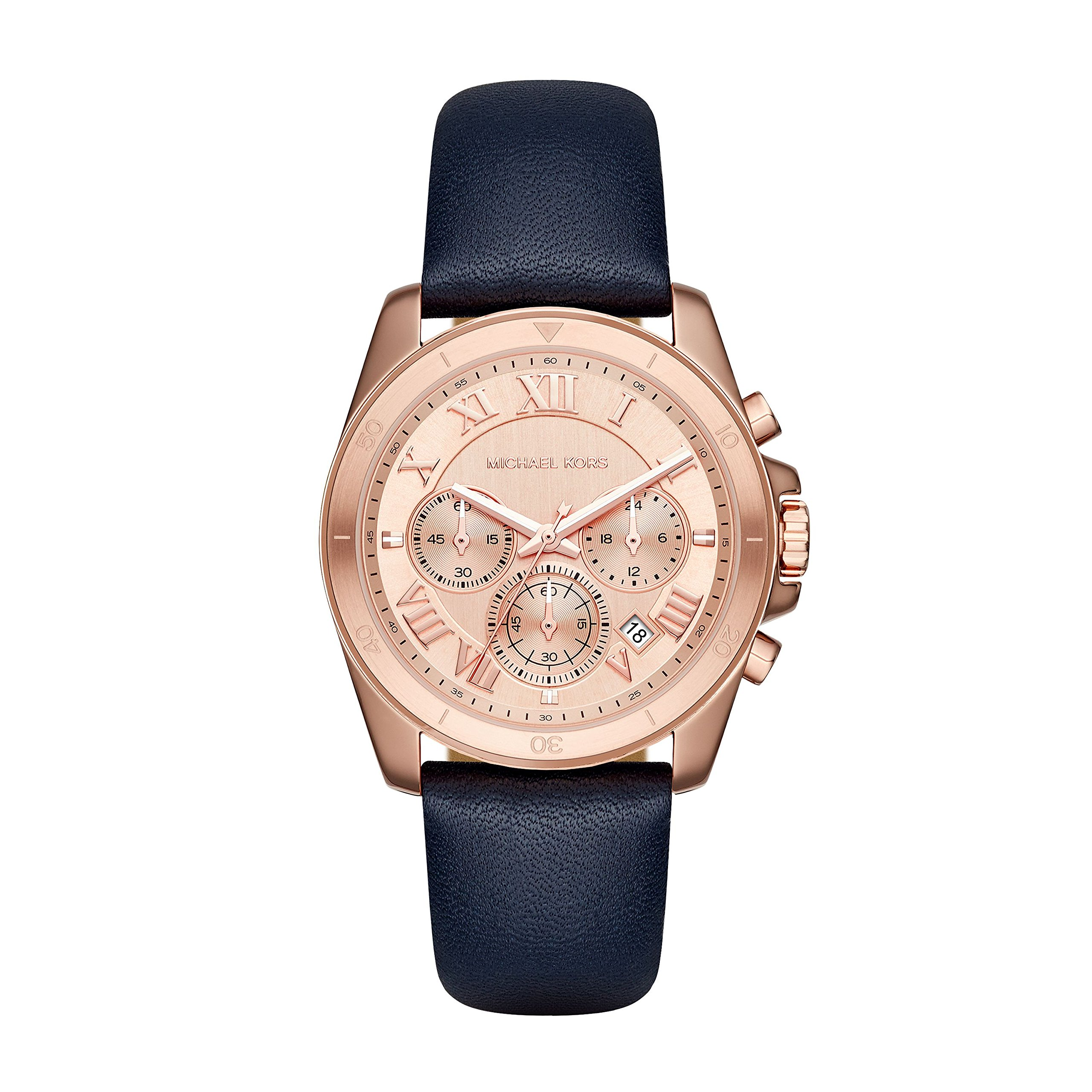 Michael Kors Brecken Rose Gold-Tone And Blue Leather Chronograph Watch by Michael Kors