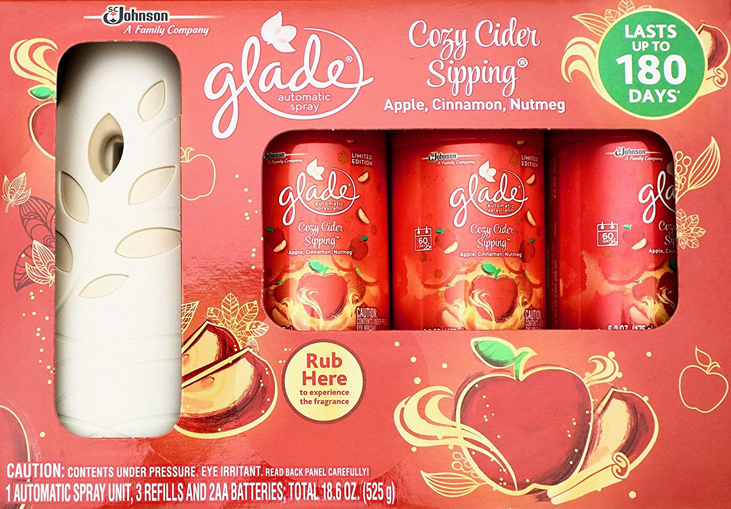 Glade Automatic Spray Cozy Cider Sipping, Automatic Spray & 3 Refills