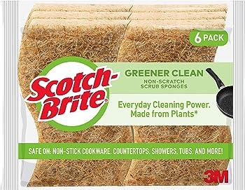 6-Pack Scotch-Brite Greener Clean Natural Fiber Non Scratch Scrub Sponge