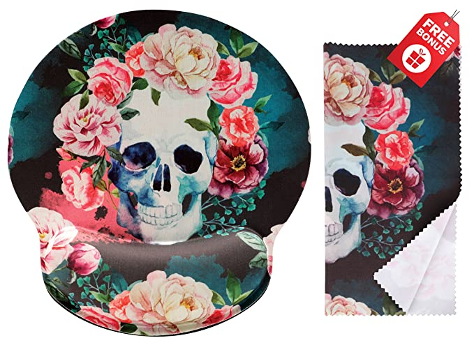 8 opinioni per Vintage Sugar Skull Ergonomic Design Mouse Pad with Wrist Rest Hand Support.