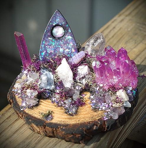small faux resin opal purple ouija planchette crystal garden wpurple aura crystal geodes - Crystal Garden