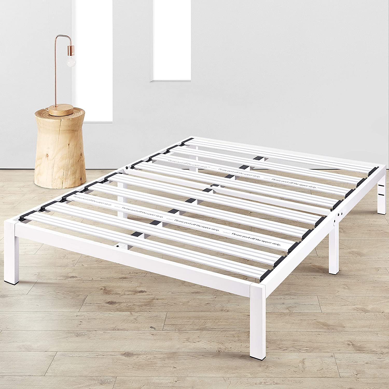 """Amazon.com: Mellow Rocky Base E 14"""" Platform Bed Heavy Duty Steel White, w/  Patented Wide Steel Slats (No Box Spring Needed) - California King: Kitchen  & Dining"""