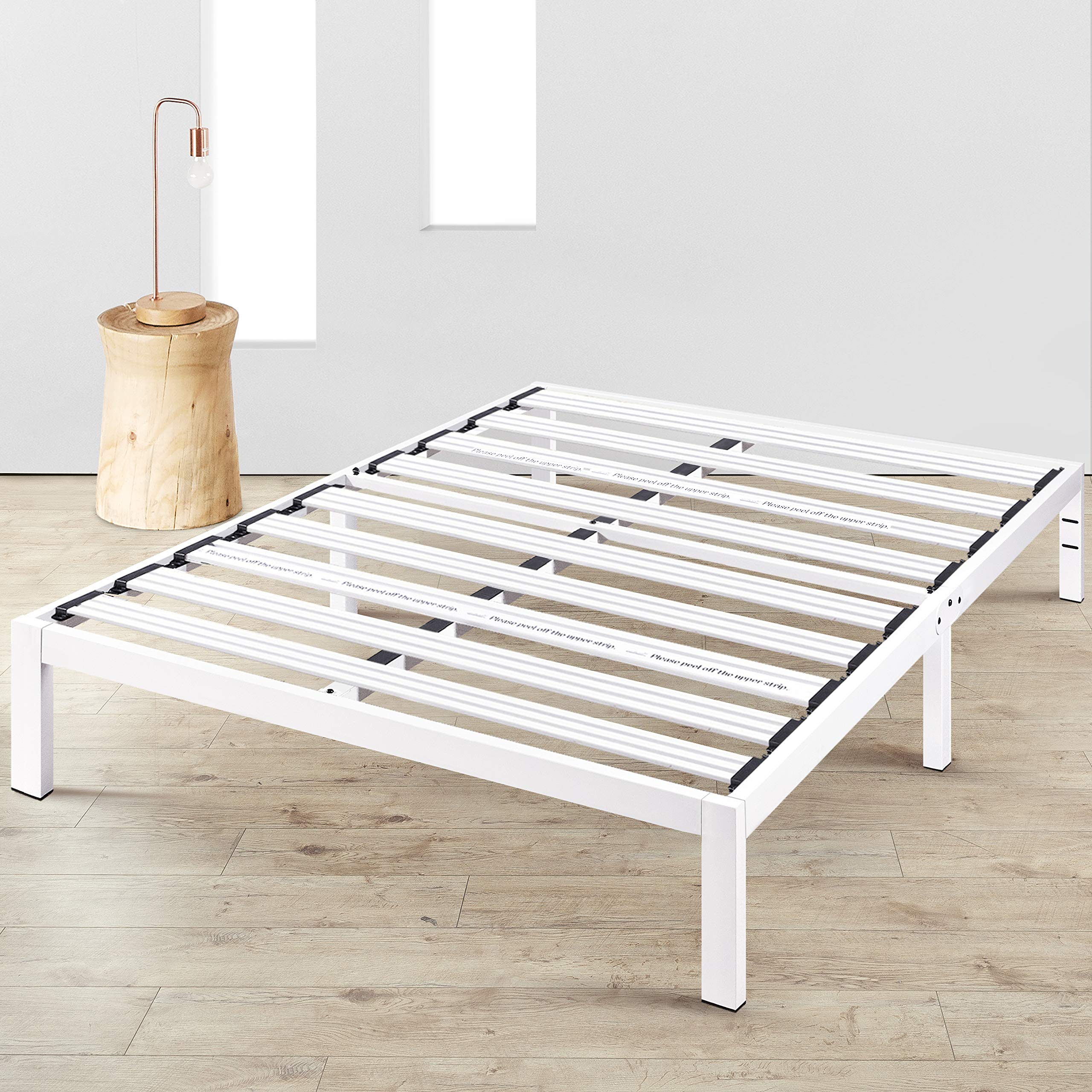 Mellow Rocky Base E (Full) - Modern Metal Platform Bed/ Heavy Duty Steel Slats/ No Box Spring Needed/ Added Support Legs, White by Mellow