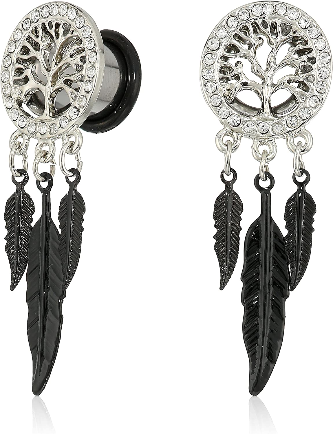 Body Candy Steel Single Flare Clear Accent Tree of Life Feather Dangle Ear Gauge Plug Set 00 Gauge