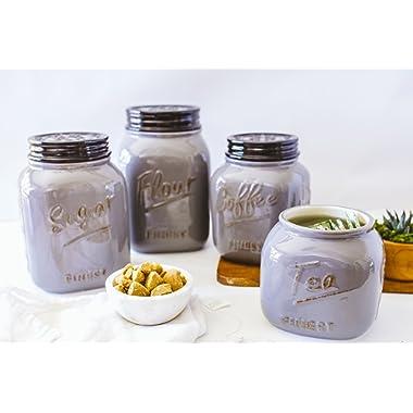 Grey Ceramic Mason Jar Canister Set of 4 by ZallZo
