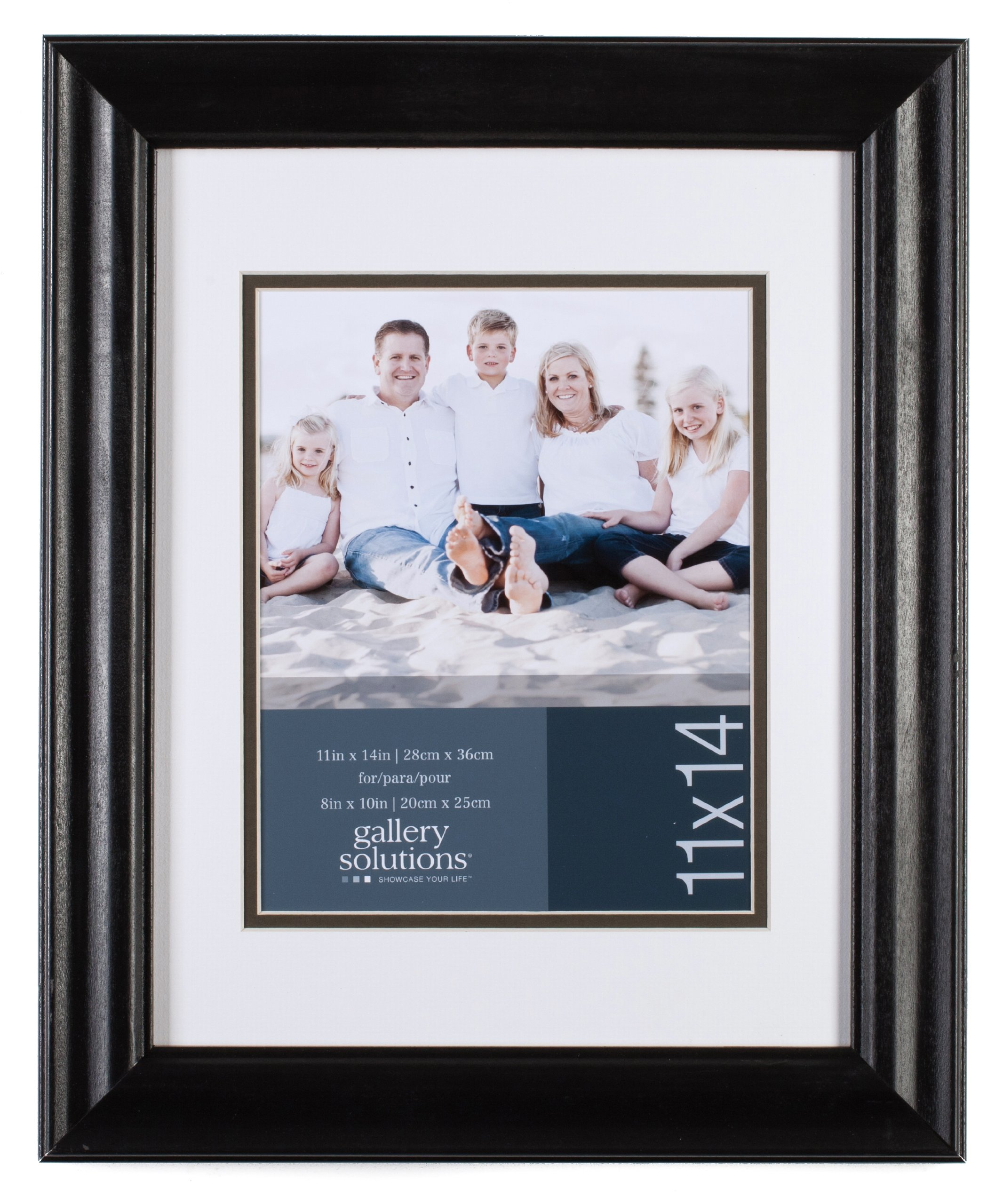 GALLERY SOLUTIONS 11x14 Black Satin Scoop Wall Frame with White Mat For 8x10 Image