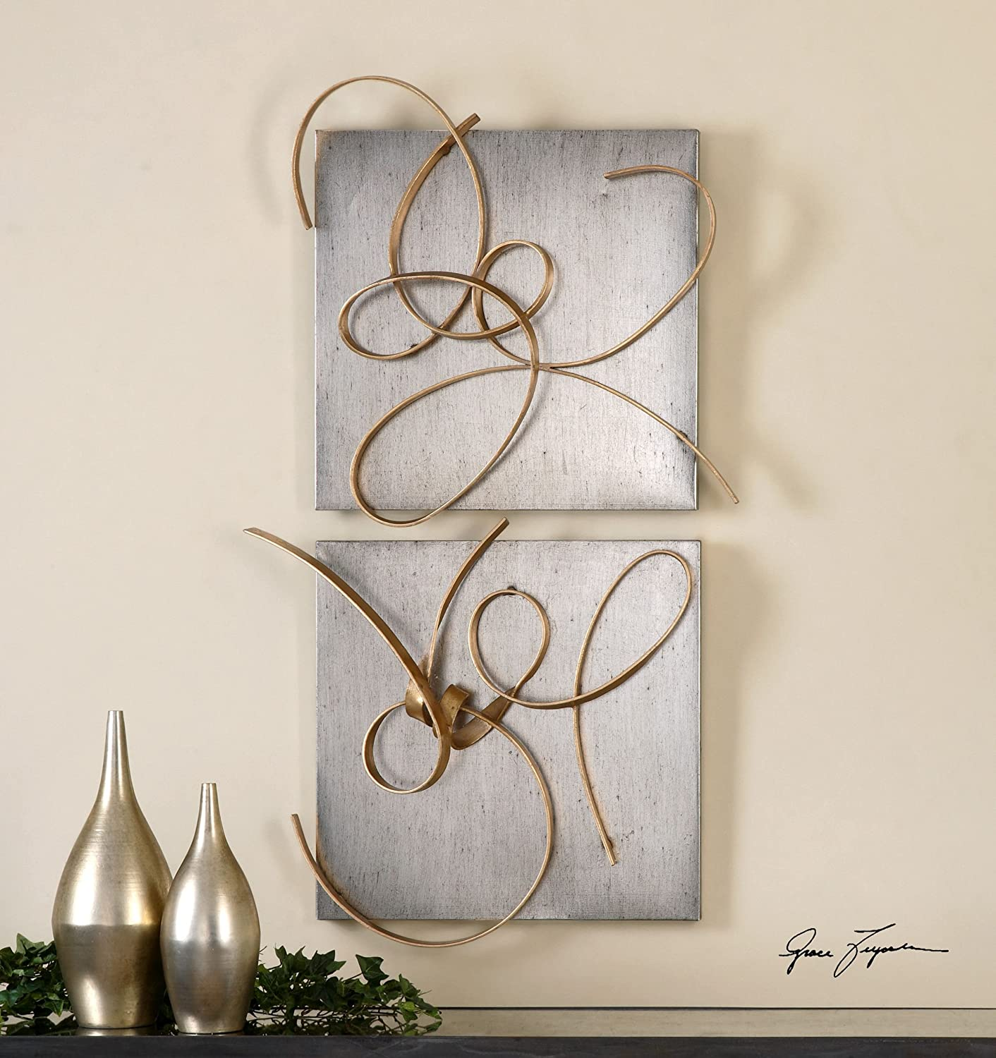 Silver Gold Metal Abstract Wall Squares Set/2 | Contemporary Modern