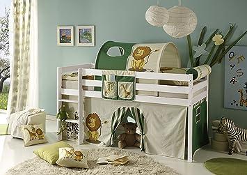 Kinderhochbett für zwei  Hochbett Kiefer massiv weiß TÜV EN 747-1 + 747-2 Kinderbett ...