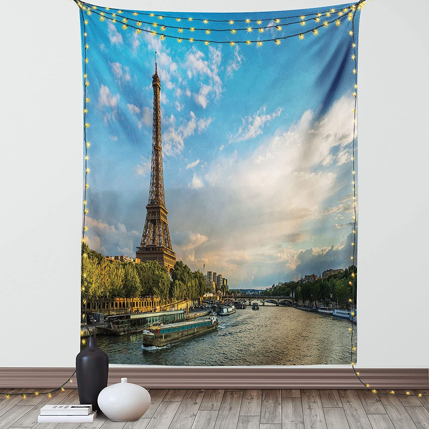 Ambesonne Eiffel Tower Tapestry Twin Size,Sunset Over a Prominent Tower Seine River Paris France Boats Passing by The Bridge, Wall Hanging Bedspread Bed Cover Wall Decor, 68