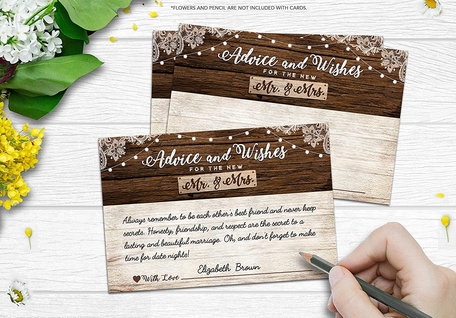 50 rustic wedding advice cards well wishes for the bride and groom bridal