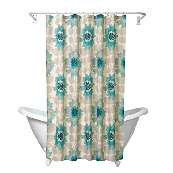 Zenna Home, India Ink Number 9 Floral Shower Curtain, Aqua