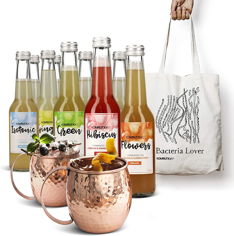KOMBUTXA TE KOMBUCHA BEBIDA ECOLOGICA - 6x275ml te fermentado bio organic tea bebida energetica sin azucar añadido (Cocktail Kit 1)