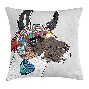 Amazon.com: Ambesonne Llama Funda de cojín, Alpaca con un ...