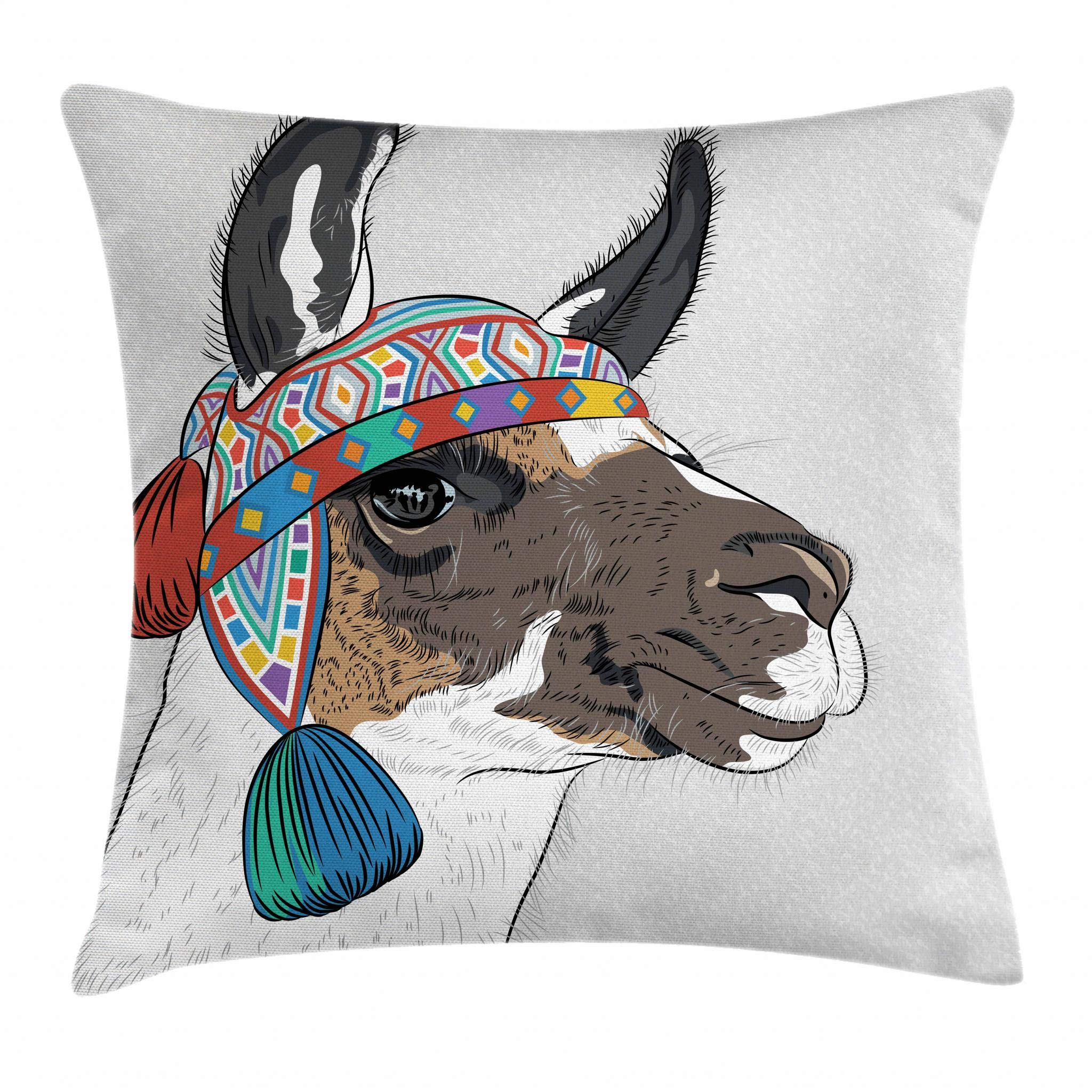 Ambesonne Llama Throw Pillow Cushion Cover, Alpaca with an Ethnic Colorful Hat Peruvian Sketch Style Animal Abstract Pattern, Decorative Square Accent Pillow Case, 16 X 16 Inches, Multicolor
