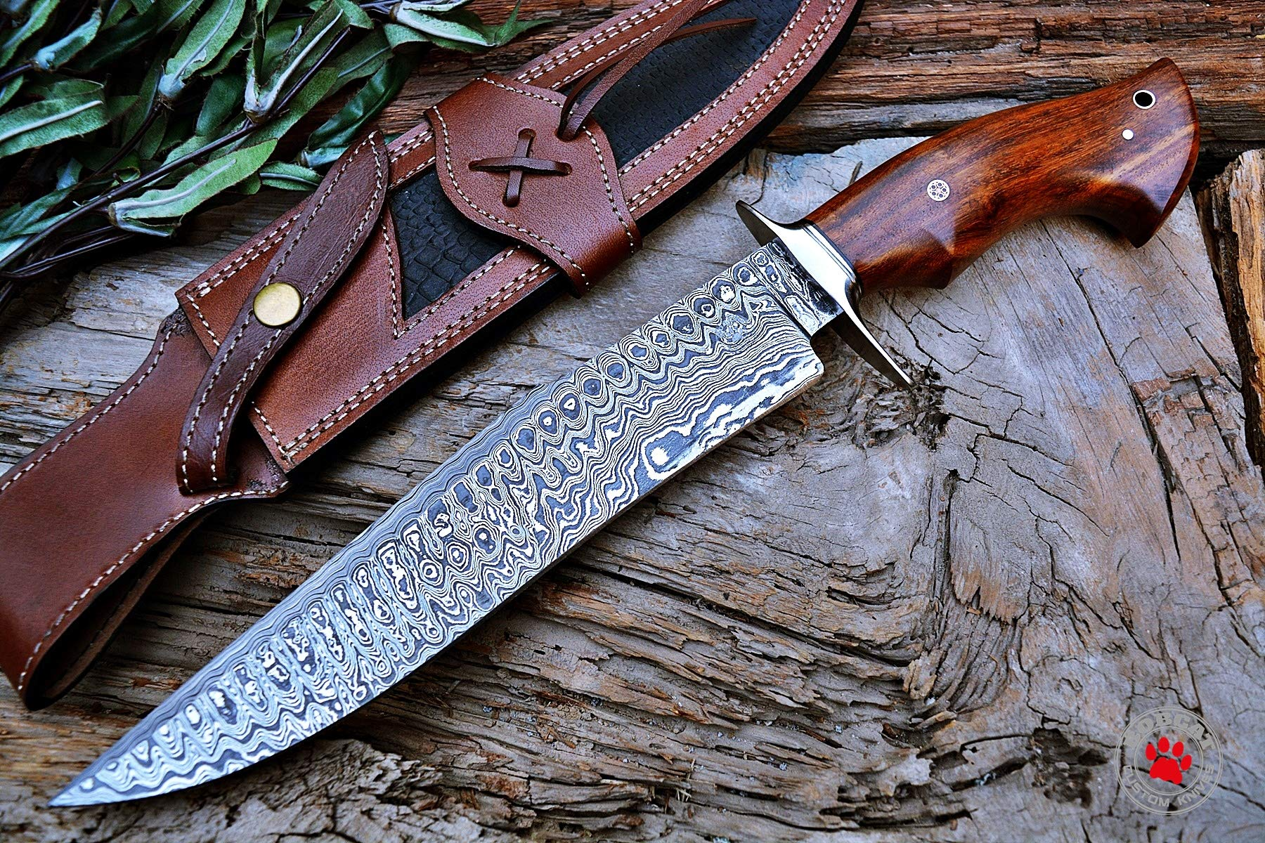 Custom Handmade Bowie Knife Hunting Knife Promotional Price Full Tang Damascus Steel 10'' Solid Walnut Wood Handle with Nice Sheath by Bobcat Knives