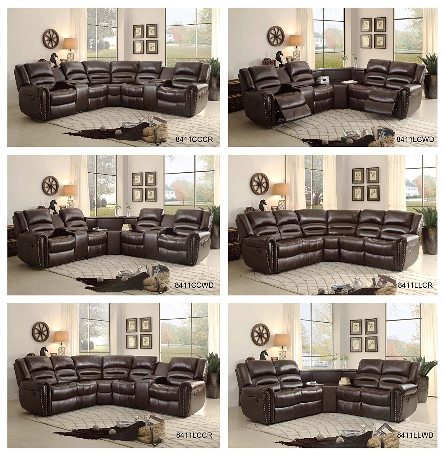 Amazon Homelegance 3 Piece Bonded Leather Sectional Reclining