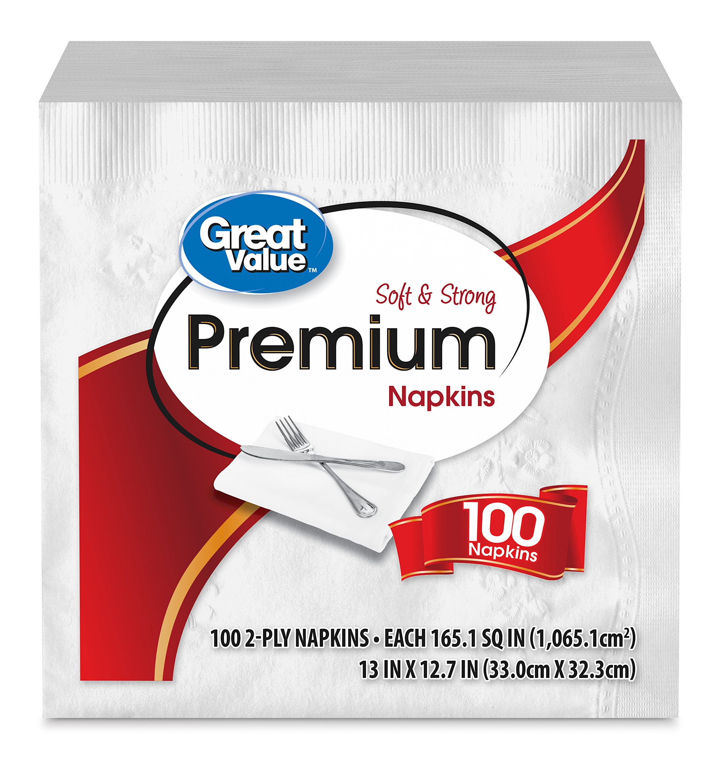 Soft and Strong Premium Paper 2-Ply White Napkins, 100 Count, Pack of 2
