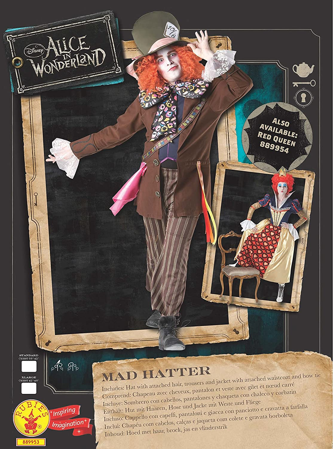Amazon.com: Rubies Official Adults Alice In Wonderland Mad Hatter Costume - Standard,: Home Improvement