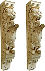 Design Toscano Manor Lion Wall Sculpture, Antique Stone, 2 Count