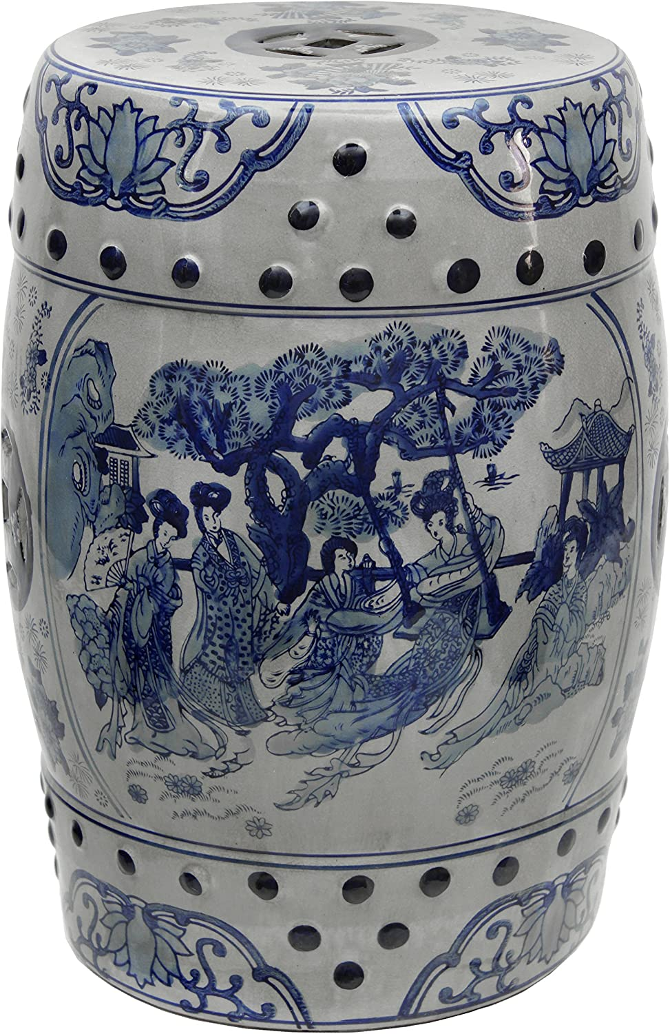 "Oriental Furniture 18"" Ladies Blue & White Porcelain Garden Stool"