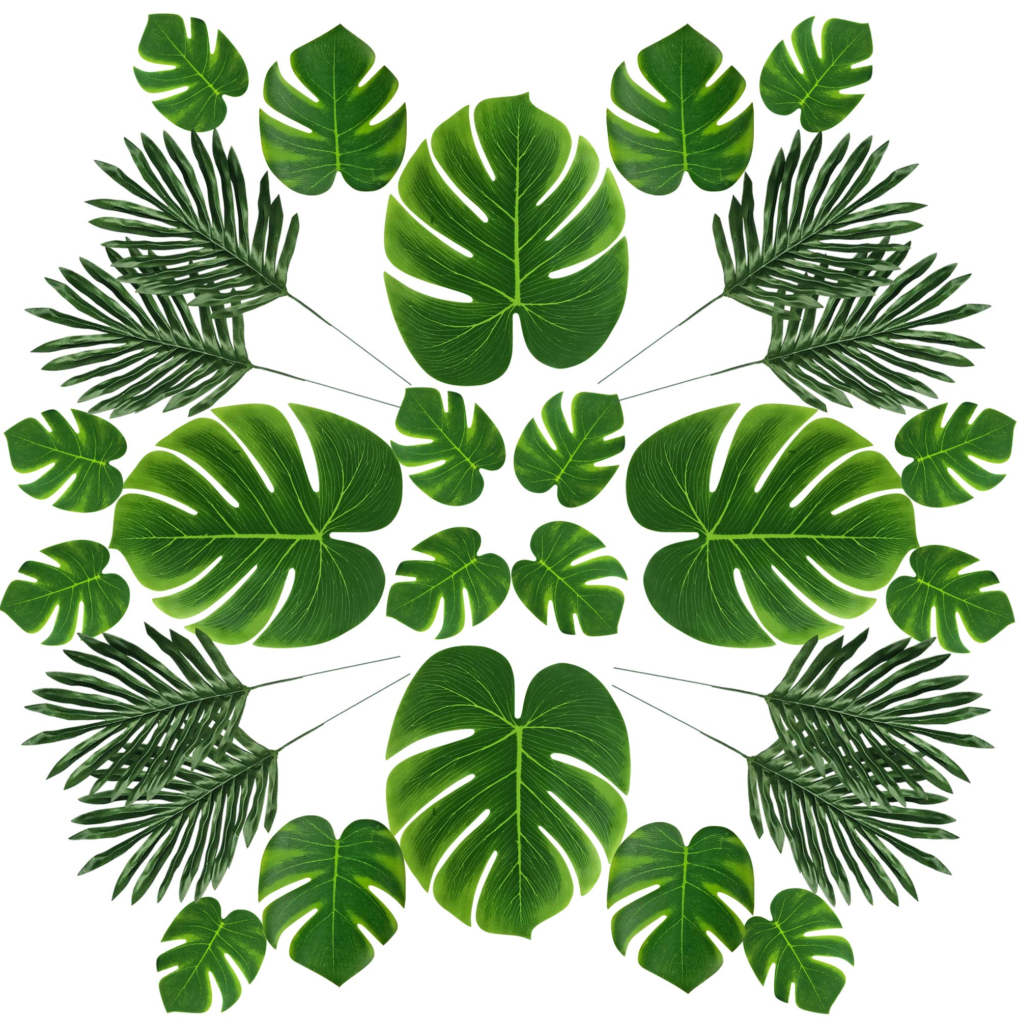 LEAFBABY 48 PCS 2 Kinds 4 Sizes Artificial Fake Lifelike Simulation Tropical Palm Leaves for Home Kitchen Party Decorations