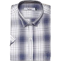 Twist Men's Regular Fit Formal/Semi Casual Cotton Half Sleeve Blue & Grey Checked Shirts with Contrast & Free Shipping
