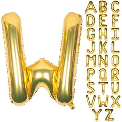 Letter Balloons 40 Inch Giant Jumbo Helium Foil Mylar for Party Decorations Gold W: Health & Personal Care