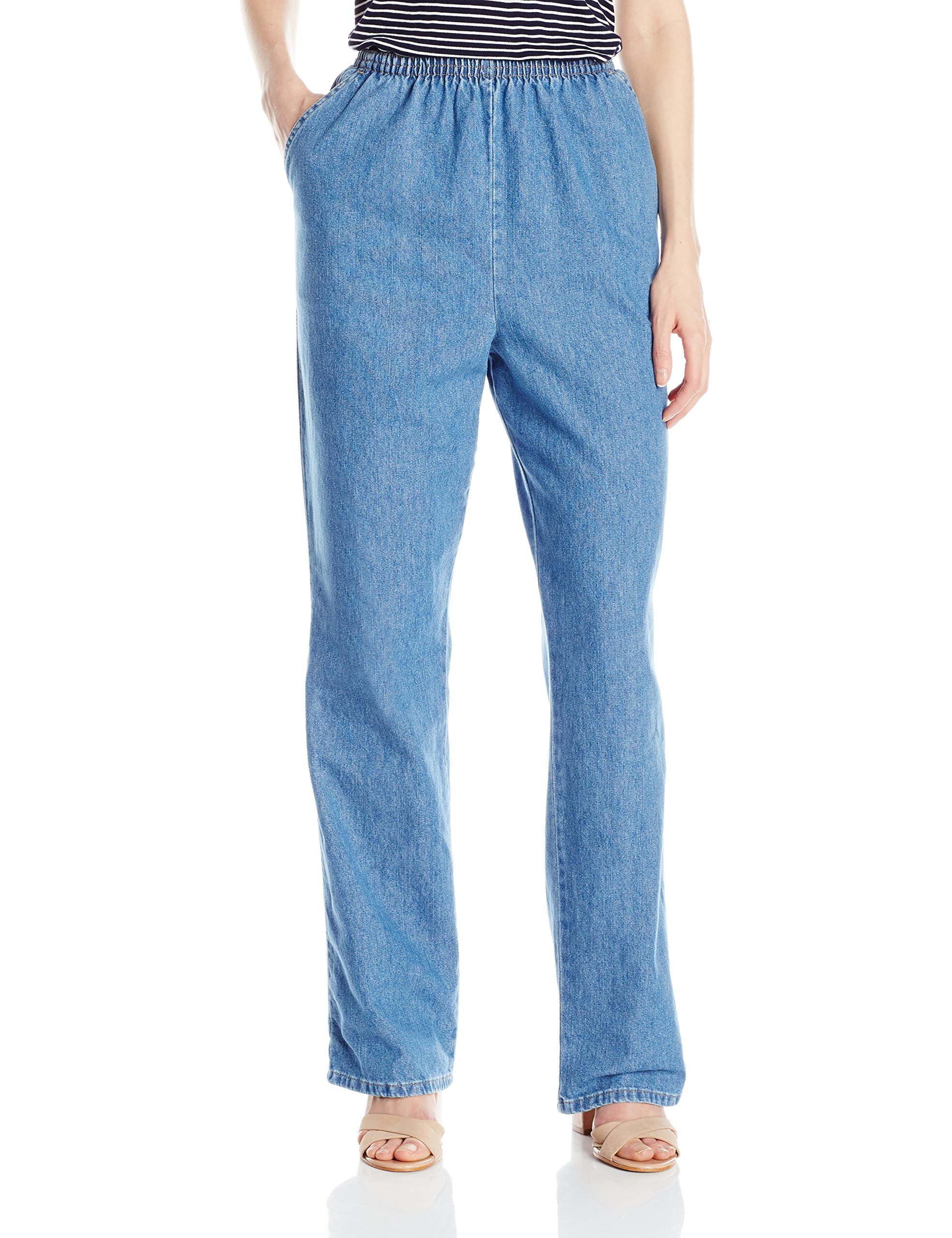 Chic Classic Collection Women's Cotton Pull-On Pant with Elastic Waist, Destruction Blue Denim, 16A
