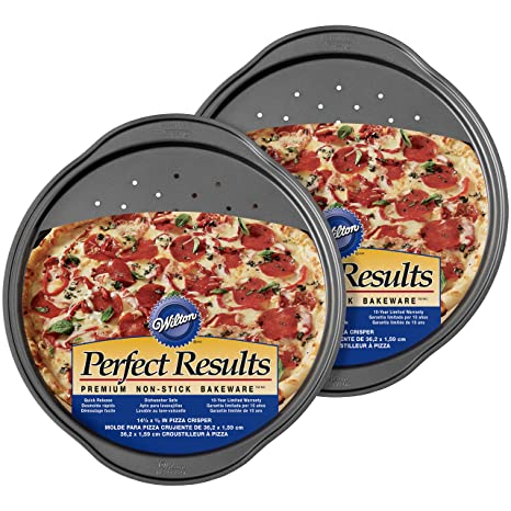 Wilton 2104-3647 Perfect Results - Juego de sartenes antiadherentes para pizza (2 unidades