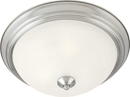 Maxim 5840MRSN, Essentials Flush Mount 1-Light 60 Watts, Satin Nickel