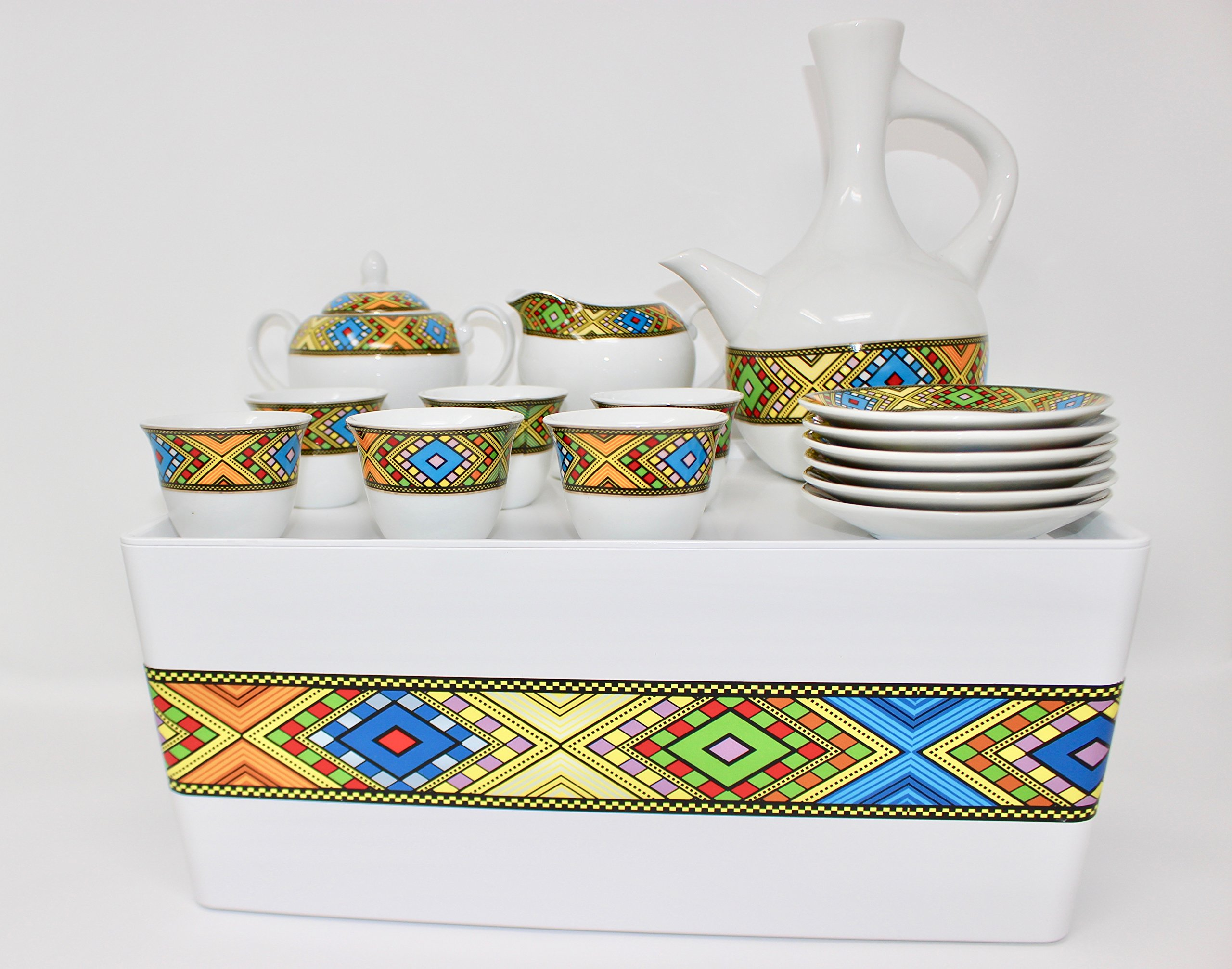 Ethiopian/Eritrean Coffee Cups with Rékébot, Abyssinian Coffee cups, Jebena, Rekebot, Ethiopian art, Eritrean Coffee, Habesha Coffee, Ethiopian Coffee ceremony, Full coffee Set by EthioDesigns (Image #1)