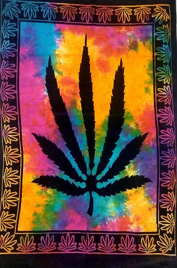 Marijuana Leaf Poster Multi Tapestry Beautiful Small Wall Hanging Cotton Textile