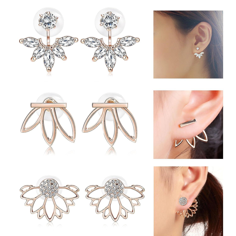 Jstyle 3 Pairs Lotus Flower Earrings Jackets For Women Girls Simple Chic Ear Stud Earrings WE16732-S