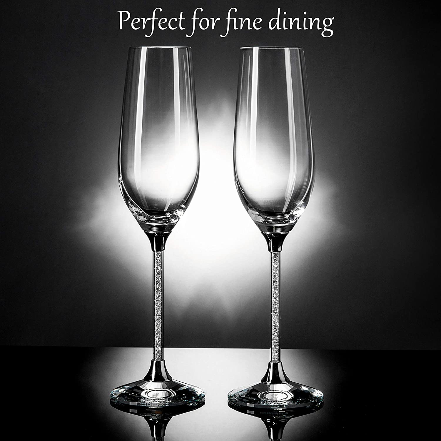 Matashi Set of 2 Champagne Flutes with Lead Free Titanium Sparkling Crystal Filled Long Stem Toasting Glasses 8oz 10-inch Tall Glassware- Romantic Glass for Valentines Day Parties /& Celebration