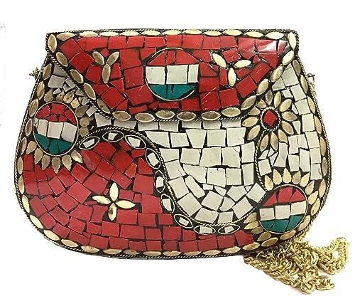 Gannu Embragues de fiesta Hecho a mano Sling Clutch, bolso de mosaico, Embrague de