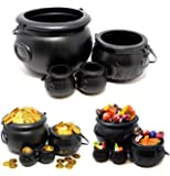 Spooktacular Creations Halloween Black Cauldron with Handle 8'' for Halloween Parties Candy Bucket, Candy Kettle and Pot of Gold Cauldron (Pack of 4)