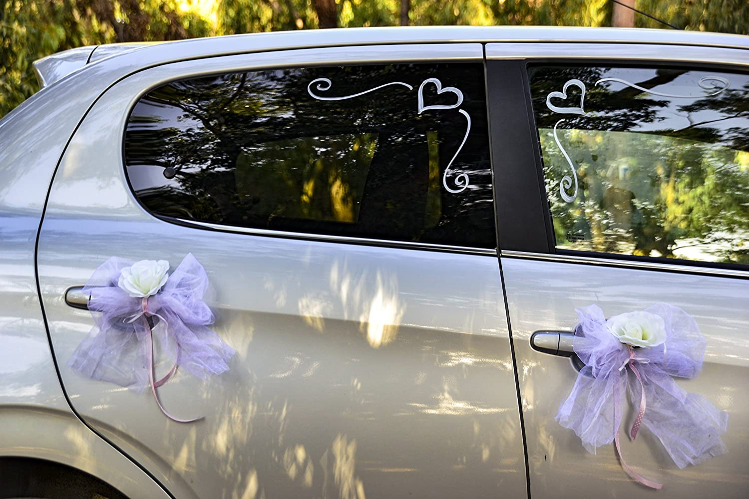 Amazon happy days wedding car decoration kit wide white amazon happy days wedding car decoration kit wide white organza ribbon with white flowers and white chalk marker junglespirit Gallery